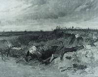 Dead Horse and Rider in a Trench