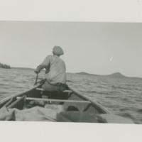 Art Karras canoeing, Cree Lake