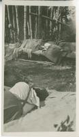 [Women sleeping on logs in forest]