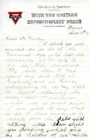 Arthur Ashley correspondence, 1917